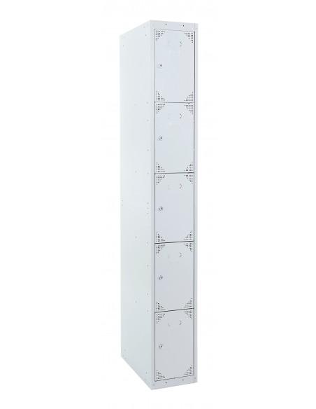 Taquilla metálica 5 puertas gris ancho 25 cm. 1 módulo