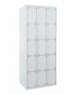 Bloque de 3x5 taquillas con las puertas cerradas. La medida exterior del bloque es : Alto 180 cm. Ancho 90 cm. Fondo 50 cm.