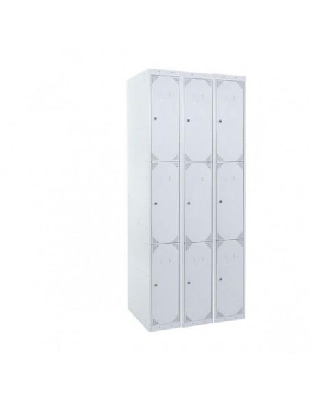 Taquilla metálica de 3 puertas GRIS ancho 25 cm. 3 módulos. Total 9 taquillas.