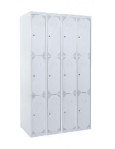 Taquilla metálica 3 puertas GRIS ancho 30cm 4 módulos