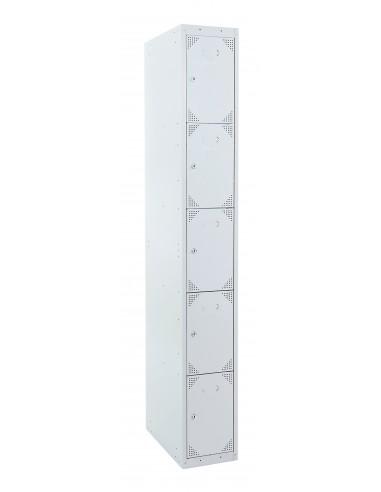 Taquilla metálica 5 puertas GRIS ancho 40 cm. 1 módulo