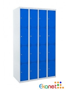 Taquilla metálica de 4 puertas. Ancho 25 cm. Color azul. 4 módulos.