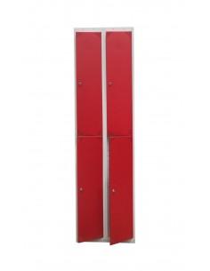 Taquilla metálica gris con puertas rojas.