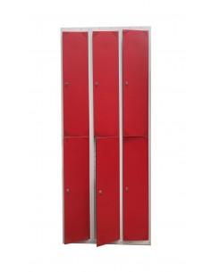 Taquilla metálica de 6 puertas rojas en 3 módulos.