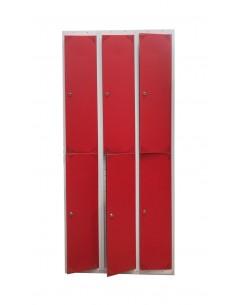 Taquilla metálica con puertas rojas