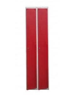 Taquilla metálica 1 puerta ROJA ancho 40cm. Bloque de 2 modulos.