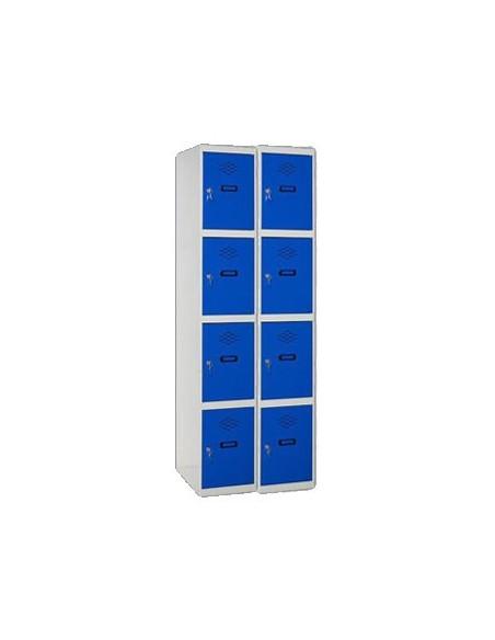 Taquilla de 4 puertas con 2 módulos formando 8 taquillas