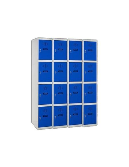 Taquilla 4 puertas de 4 módulos formando 16 taquillas.