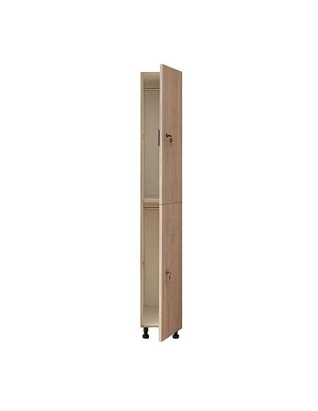 Taquilla 2 puertas 1 módulo  de melamina color roble Nebrasca. Puertas abiertas.