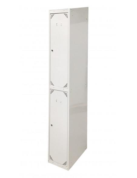 Taquilla metálica 2 puertas GRIS ancho 25cm 1 módulo. Vista lateral.