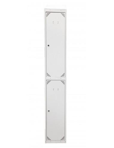 Taquilla metálica 2 puertas color gris cerrada.