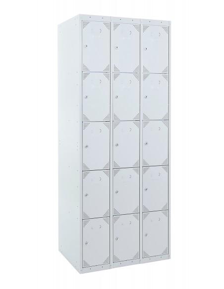 Detalle de los huecos de ventilación de la taquilla metálica de 5 puertas GRIS. Ancho 25 cm. 3 módulos. Fondo 50 cm. Altura 180
