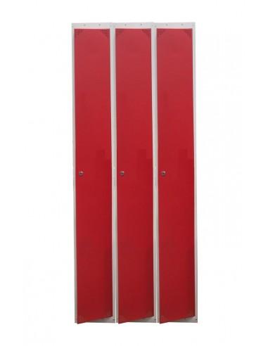 Taquilla metálica color gris con puertas rojas de 25 cm. 3 módulos.