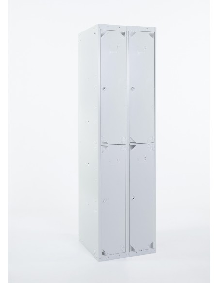 Bloque de 4 taquillas color gris ancho 25 cm. cerrada.