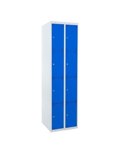 Taquilla metálica de 4 puertas. Ancho 30 cm. Color azul. 2 módulos.