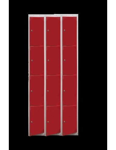 Taquilla metálica de 4 puertas. Ancho 30 cm. Color rojo. 3 módulos.