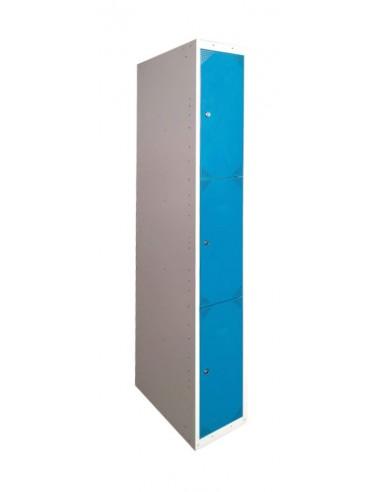 Taquilla metálica 3 puertas AZUL ancho 25cm 1 módulo.