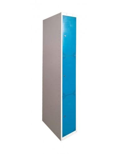 Bloque de 3 taquillas azules ancho 40 cm.