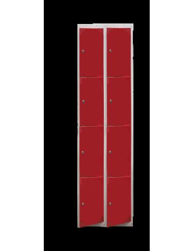 Bloque de 8 taquillas con puertas rojas.